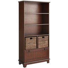 In Family Room.  Books and Games.  Pier 1.  Holtom Bookcase - Chestnut Brown.  Also comes in black.