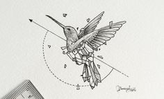 Geometric hummingbird tattoo design • Visit artskillus.ru for more tattoo ideas