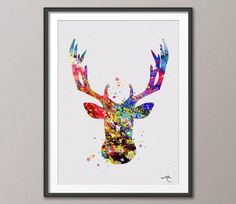 Deer Stag Antler Print  8x10 Archival Fine Art Print  by CocoMilla, $15.00@etsy=> Do in camo colors