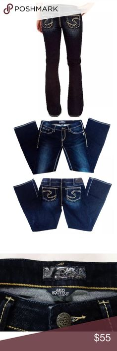 """30x32.5 SILVER JEANS AIKO BOOTCUT JEANS Dark Wash Brand: SILVER JEANS   Style: """"Aiko Bootcut""""   *This style is one of Silver Jeans' BESTSELLERS* Wash: Dark with very slight whiskering and fading and thick, contrasting stitch Size: """"W30/L33"""" Front Rise: 8"""" Leg Opening: 19"""" Waist (Across): 18"""" (stretched) Inseam: 32.5""""  (Tag says L33, but true measurement is 32.5"""") (Original, slightly distressed hems) Fabric:  75% Cotton  25% Polyester/ Machine wash or dry clean Condition: LIKE BRAND NEW…"""