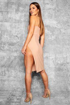 Petite Jennie Strappy Thigh Split Midi Dress