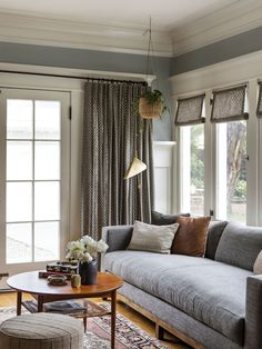 Home Interior Apartment cozy living room with custom drapery gray sofa gray drapery antique rug eclectic living room Home And Living, House Interior, Modern Eclectic Living Room, Home Remodeling, Eclectic Living Room, Home, Interior, Cozy Living Rooms, Living Room Modern