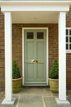 Front door color: Farrow & Ball - Lichen exterior in eggshell. More Home Decor Cottage Front Doors, Green Front Doors, House Front Door, Up House, Front Door Paint Colors, Exterior Paint Colors For House, Painted Front Doors, Paint Colors For Home, Paint Colours
