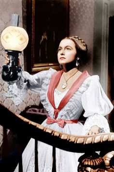 Olivia de Havilland in 'The Heiress', 1949 - After Catherine's cruel father, Dr. Sloper, threatens to cut off her inheritance if she marries Morris, they decide to elope. But before they confirm their plans, she tells Morris of her fathers plans to reduce her original inheritance by $10K, Morris abandons her & leaves her waiting all night in her parlor, heart broken by her betrayal.