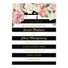 Shop Floral Stripes Wedding Invitations created by berryberrysweet. Shabby Chic Wedding Invitations, Make Your Own Wedding Invitations, Wedding Invitation Inspiration, Engagement Party Invitations, Beautiful Wedding Invitations, Wedding Stationery, Wedding Pins, Diy Wedding, Wedding Engagement