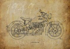 INDIAN SCOUT 1949, Based on my Original Handmade Drawing, Art Print 11.5x16in, year 1949  Digitally printed on acid free paper, professional quality. Paper size A3 - 11.5x16 inches (29 x 41 cm) The watermark not appear in prints.  NOTE: Colors may vary from screen to screen. This price is for Registered shipment! Unframed  Prints will be shipped in a cellophane sleeve. I send my prints off to their new home within 1-3 days of payment. I ship my international orders by air after Im notified…