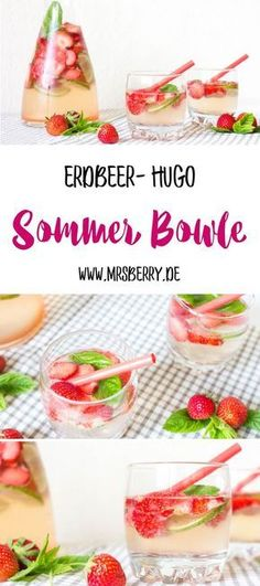 Sommer Bowle – Rezept für Erdbeer-Hugo mit und ohne Alkohol Summer punch – recipe for strawberry hugo with and without alcohol Hugo Cocktail, Cocktail Drinks, Cocktail Recipes, Summer Punch Recipes, Summer Grilling Recipes, Snacks Für Party, Party Drinks, Smoothie Bowl, Smoothie Recipes