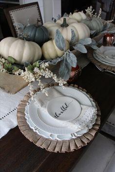 farmhouse fall decor. farmhouse tablescape. fall tablescape. white pumpkins. doughbowl decor. doughbowl centerpiece (christmas sweets table)