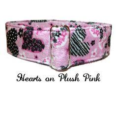 Hearts on Plush Pink Adjustable Dog Collar by LuigisFineDogCollars
