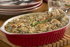 Comforting casseroles are always welcome, especially on a chilly night. But even if it's not cold outside, our easy, lighter Mushroom Chicken & Rice Bake with good-for-you ingredients will still be a comfort, 'cause it'll be ready in under 30 minutes