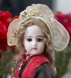 """18"""" (46 cm.) FRENCH FASHION DOLL POUPEE BY JUMEAU WITH DRAMATIC LARGE EYES AND Original Elaborate Folklore Brittany Costume Antique dolls at Respectfulbear.com"""
