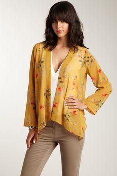 Kensie  Sheer Floral Kimono Cardigan