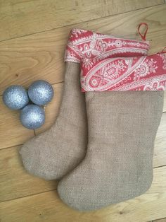 Burlap Christmas Stocking handmade in the UK from beautiful upcycled fabric. Two available - ready-made for you to buy now, or can be personalised. This classic rustic-style Christmas stocking is handmade by me using hessian (burlap). It is fully lined with a soft cream cotton and