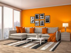 Home Design Furniture: Orange Walls With Brown Furniture Home Designs Idea Living Room Orange, Colourful Living Room, Living Room Colors, Living Room Grey, Living Room Designs, Living Room Decor, Living Rooms, House Furniture Design, Decor Interior Design
