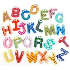 Large, hand painted, magnetic letters, numbers & symbols in a variety of colors and patterns!