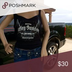 """Harley Davidson Denver CO Tank Top Truck not included. Measurements: bust: 34"""" and stretches to 36"""" & 28"""" shoulder to hem. In very good condition. Harley-Davidson Tops Tank Tops"""