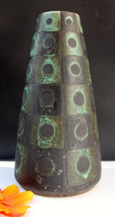 Schlossberg vase Lava West German Pottery 60s Eames era Mid century Fat Lava
