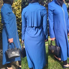 "7 Likes, 1 Comments - Allure.Abayas (@allure_abayas) on Instagram: ""Elegant midi abaya in blue has a zip detail in the middle allowing you to wear it open available…"""