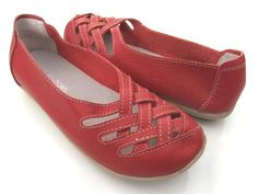 KRYSTAL RED LEATHER FLATS