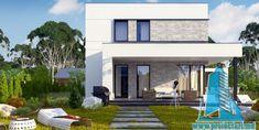 Proiect de casa cu doua etaje,acoperis plat si terasa de vara amenajata la sol -100960     Proiectari si Constructii Style At Home, History Of Ghana, House Front Design, Home Design Plans, Design Case, Best Interior, Home Fashion, Ideas Para, My House