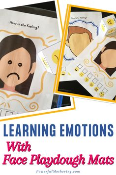 """Your child is a """"small bowl of emotions"""". Most of the time they don't know how to express their feelings. They sometimes feel overwhelmed. Help your child understand feelings and emotions with this super fun yet simple educational activity! Check out the blog for more details on these face playdough mats with the theme - learning emotions. Ready in no time, this playdough mat is both easy prep and easy cleanup! Surely, your little one will love it."""