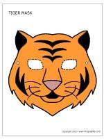TIGER MASK - two free tiger masks to print, a b&w mask to color, and a colored tiger mask.