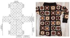 You've seen it on the runway, now crochet your own Cafe Latte Crochet Coatigan. This crochet coatigan pattern, a coat-length crochet cardigan, is comprised of many different crochet granny squares. Gilet Crochet, Black Crochet Dress, Crochet Coat, Crochet Cardigan Pattern, Crochet Jacket, Crochet Clothes, Crochet Patterns, Afghan Crochet, Afghan Patterns