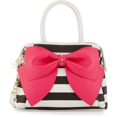 Betsey Johnson Ready Set Bow Striped Satchel Bag ($57) ❤ liked on Polyvore featuring bags, handbags, stripe fus, betsey johnson handbags, red satchel purse, bow purse, betsey johnson and top zip satchel