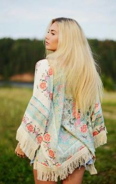 Boho Floral Fringe Kimono