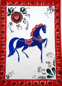 Folk Gorodets painting from Russia. Floral patterns and a horse. Horse Illustration, Russian Folk Art, Ap Studio Art, Quirky Art, Horse Art, Naive, Traditional Art, Painting Inspiration, Fiber Art