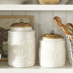 KITCHEN: Ivory Farmhouse Canisters - Pier One - Large & Medium