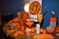 A Basketball Themed Bar Mitzvah Candy Table, Candy Buffet, Bar Mitzvah, Basketball Birthday Parties, Basketball Cupcakes, Basketball Shoes, Kids Party Decorations, Party Ideas, Decorating With Pictures