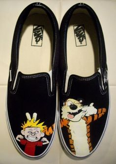 Calvin and Hobbes Custom Vans / Oh my gosh yes! Calvin Und Hobbes, Jasper Johns, Custom Vans, Custom Shoes, Roy Lichtenstein, Andy Warhol, Stilettos, Richard Hamilton, Dali