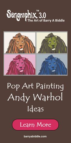It's our way to let you be part of the story of Barry A Biddle's art by letting you choose your own colors. Lion Print, Canvas Prints, Framed Prints, Andy Warhol, Game Room, Playroom, Den, Pop Art, Family Room