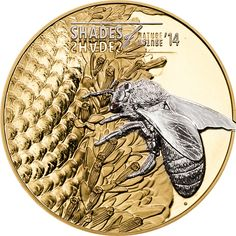 Silver Coins-BEE Shades of Nature Gilded Silver Coin Cook Islands 2014 Silver Coins For Sale, Gold And Silver Coins, Silver Investing, Canadian Coins, I Love Bees, Coin Design, Bee Gifts, Bullion Coins, Bee Art