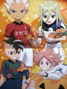 """Gouenji Shuuya, Terumi """"Aphrodi"""" Afuro, Fudou Akio and Fubuki Atsuya from Inazuma Eleven Ares no Tenbin ❙ Magazine Animage"""