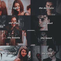 Opposites attract right. Vampire Diaries Ending, Vampire Diaries Damon, Vampire Diaries Quotes, Vampire Diaries The Originals, Damon Salvatore, Delena, Katharina Petrova, Nova Orleans, Supernatural