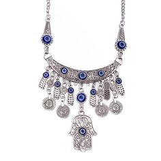 Red Nymph Fashion Ancient Silver Plated Alloy Exaggerated Necklace with Tassel coin pendants