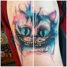 First tattoo down at No Regrets  thanks Freddie it was a pleasure! Wraps quite a bit so sorry for the rubbish photo stitch #chesirecat #aliceinwonderland #aliceinwonderlandtattoo #watercolour #watercolourtattoo #sketch #sketchytattoo #disneytattoo #disney #disneytatts