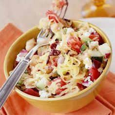 Greek Spaghetti Squash Salad....The tangy components of the traditional Greek salad--feta cheese, kalamata olives, and oregano--are ideal complements to the subtlety of spaghetti squash. Serve with beef, lamb, or chicken.