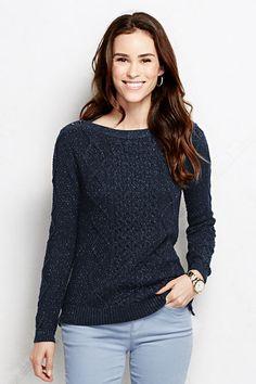 7b9df56fbf8 Women s Lofty Lurex Aran Boatneck Sweater from Lands  End Wool Sweaters