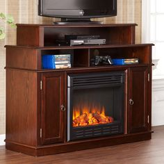 Southern Enterprises Lynden Espresso Electric Fireplace Media Console | from hayneedle.com