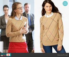 Kara's camel argyle sweater on Supergirl Supergirl Outfit, Teacher Outfits, Teacher Clothes, Girl Outfits, Fashion Outfits, Fasion, Sexy Librarian, Smart Casual Wear, Nerd