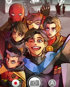 Batfamily photo. one of the main reason for pinning this is jay's finger.