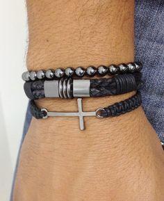 Kit de pulseiras unissex mens bracelets pulsera cross crucifixo moda fashion style lifestyle masculina