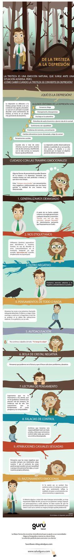 De la #tristeza a la #depresion #infografia vivir con depresión                                                                                                                                                     Más
