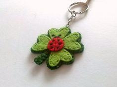 Clover keychain good luck keychain Four leaf clover Felt Keychain, Good Luck Gifts, Felt Embroidery, Four Leaf Clover, Wool Felt, Ladybug, Etsy, Crochet Earrings, Unique Jewelry