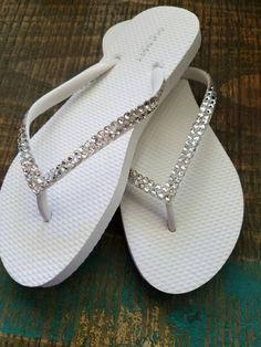 02b8a2a30 Swarovski Crystal Rhinestone Wedding Flip Flops- Sizes 6-10 by SatinSassy  on Etsy Rhinestone