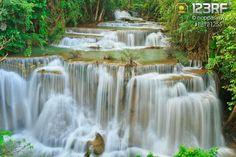 Deep forest Waterfall in Kanchanaburi, Thailand #123rf #Thailand