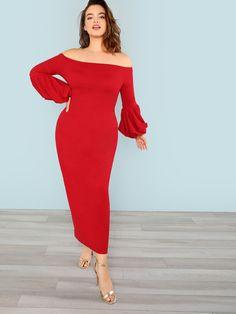 e13b61900a789a Plus Off Shoulder Lantern Sleeve Bodycon Dress -SheIn(Sheinside) Boutique